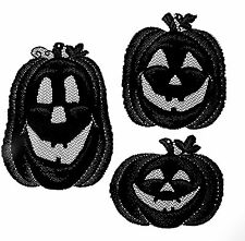 SET OF 3 PUMPKINS JACK O LANTERNS HALLOWEEN DECOR BLACK LACE SHEER WALL HANGING