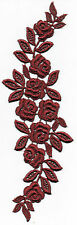 1 x Dark Red Roses GUIPURE LACE Appliqué Embellishment - DRESS MAKING SEWING