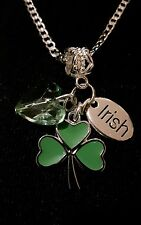 22inch sterling silver chain+Tibetan silver shamrock heart Irish charm gift bag