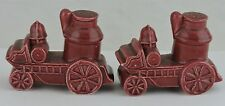 VINTAGE NOVELTY ART POTTERY FIRE TRUCK CART SALT PEPPER SHAKER SET RARE