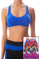 Seamless Strappy Caged Sports Workout Gym Yoga Bralette Bra Pads Top Stretch
