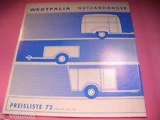 ✪ Westfalia Werke Nutzanhänger Preisliste Nr. 72 von Mai 1966 Anhänger Transport