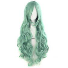 Hot Women Fashion Wig Curly Hair Wigs With Bangs Dark Green Curly Full Hair Wig