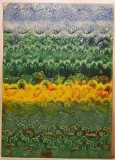 """PEINTURE DENDRITE """"dégradé de couleurs"""" signée datée dédiée 2001 29,5x21 cm"""