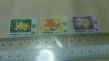 3 Malaysia Sarawak 20, 15, and 10 Stamp Flower Themed Arts