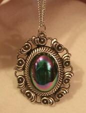 Swirl Seashells Rim Opalescent Blue Violet Green Domed Silvertn Pendant Necklace