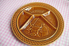 "FONDUE PLATE VINTAGE FRENCH 9.50"" BROWN - COW BULL & WINE, CERAMIC SARREGUEMINES"
