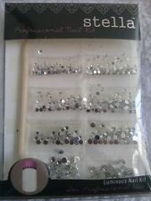 1 pack of STELLA clear flat back rhinestones luminous professional nail kit