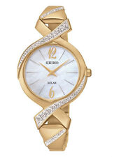SUP266P9 NEW Seiko Ladies Swarovski Solar Powered Gold Plated Bracelet Watch