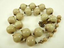Beautiful Vintage MIRIAM HASKELL Cream Swirl Glass Stone Beaded Necklace