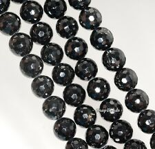 10MM BLACK TOURMALINE GEMSTONE GRADE AA FACETED ROUND LOOSE BEADS 7.5""