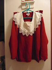 Bright Lights Skirt and top Set size 22/24 100% Acrylic Deep Red/Cream  USA made