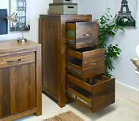 Linea solid walnut home furniture large three drawer office computer filing cabi