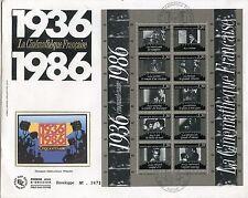 FDC / PREMIER JOUR CINEMATHEQUE BLOC N° 9 CINEMA PARIS CINQUANTENAIRE 1986