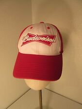 Budweiser Baseball Cap Hat Red White Embroidered Adjustable Beer
