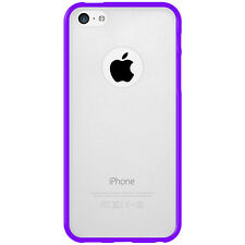 For iPhone 5C SlimGrip Hybrid TPU Bumper Case Clear Back Cover - Cloudy/ Purple