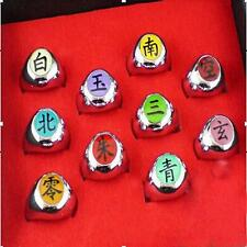 New Naruto Rings /10 pcs NARUTO Akatsuki Cosplay member's Ring Set