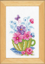 Green Tea Cup & Flowers : Vervaco Counted Cross Stitch Kit - PN0143922