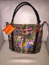 MARINO ORLANDI Made in Italy Multi Color Embossed Python Leather Satchel  NWT