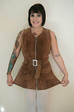 60s 70s vintage brown suede leather micro mini dress MOD Go/Go Hipster