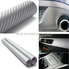 "60"" x 24"" 3D Silver Carbon Fiber Vinyl Wrap Film Car Vehicle Sticker Sheet Roll"