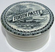 """Pretty """"Duck Shooting"""" Pictorial Tooth Paste Pot Lid & Base c1900's"""