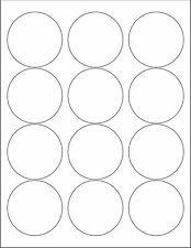 "6 SHEETS 2-1/2 ROUND CIRCLE BLANK WHITE  STICKERS LABEL ~Standard 8-1/2""x11"""