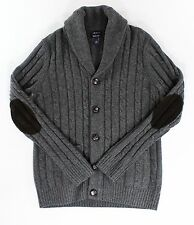 Gant Rugger NEW Gray Men Large L Cable Knit Cardigan Wool Sweater $235- #811