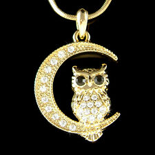 w Swarovski Crystal Owl on Moon Hoot Bird Halloween Charm Gold Tone Necklace NEW