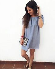 Zara light blue off the shoulder linen dress with frills size S