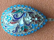 NICE SPOON CLOISONNE ENAMEL SILVER 84 RUSSIAN IMPERIAL RUSSIA BEAUTIFUL ANTIQUE