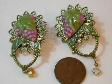 Vintage Verdigris Patina Filigree Pierced Earrings Grape Cluster Vineyard 7e 34