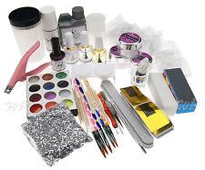 Premium Acrylic Nail Art Tips Glitter Powder Brush Set Manicure Combo Kit