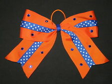 "NEW ""BLUE & ORANGE Bling"" Cheer Bow Pony Tail 3 Inch Ribbon Girls Cheerleading"