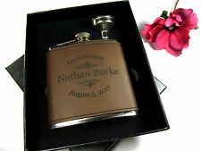 Custom Engraved Leather Flask Personalized Groomsmen Gift Box Funnel ETY