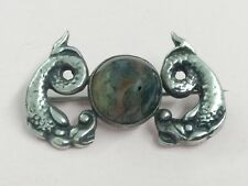 VINTAGE IONA STERLING SILVER & MOSS AGATE SEA SERPENT BROOCH PIN BY JOHN HART
