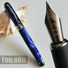 Jinhao X750 Executive Royal Blue Marble And Silver Broad Nib Fountain Pen Shine