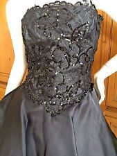 Christian Dior Black 1970's Embellished Long Black Evening Dress