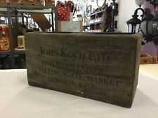 KOCH VINTAGE SMALL WOODEN BOX TIMBER RUSTIC INDUSTRIAL DISPLAY SHOP WALL CRATE