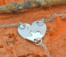 3 Piece Heart Puzzle Necklace -.925 Sterling Silver- Mothers Gift,Friendship!!!