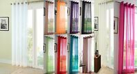 MODERN EYELET TOP PLAIN VOILE NET CURTAIN SINGLE PANEL 11 COLOURS 54-108 INCHES