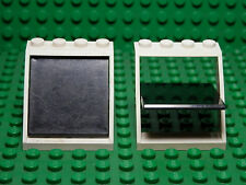 LEGO LEGOS - Set of 2 White Window 4x4x3 Roof with Black Glass