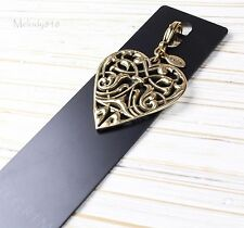 Vintage PILGRIM Clasp-on-Charm Pendant Gold Filigree Art-Nouveau HEART BNWT