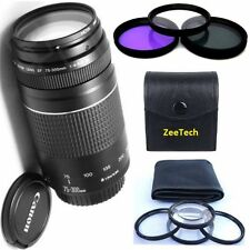 Canon 75-300mm III Zoom Lens + 3pc  Filter Kit + 4pc Macro Lenses Set bundles