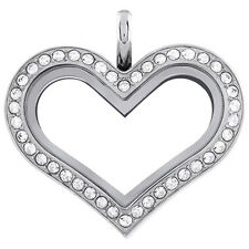 Origami Owl Med Silver Heart Locket w/ SWAROVSKI Crystals! Great For a GIFT!