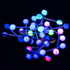 Tongue Nipple Piercing Barbells - 20pk 14ga UV Glow - 316L Steel No Duplicates