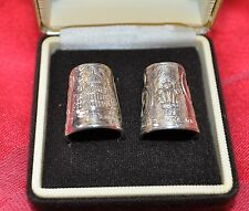 Pair Boxed Charles & Diana Sterling Silver Thimbles - Birmingham 1981
