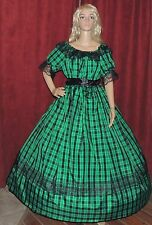 CIVIL WAR VICTORIAN PIONEER REENACTMENT Green Plaid Taffeta Costume Dress Gown