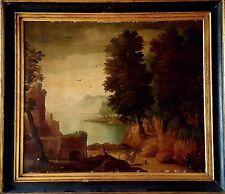 Tableau ancien - paysage personnage près des ruines