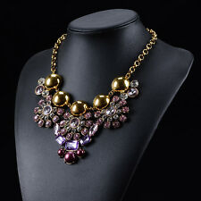 NEW 2015 BEAUTIFUL ZARA DESIGN ROSE & CLEAR  & GOLD CLUSTER STONES NECKLACE